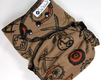 Ready to Ship Large Cloth Diaper - 20-40 lbs - Wind Pro AI2 - Edgy - Instock L All in Two Nappy - Brown and Black Skater - Free US Shipping