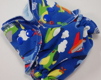 Newborn Cloth Diaper Cover (or AI2) - 6-15 lbs - Flying Machines -Size Nb - Hidden-PUL - Ready to Ship - Waterproof Reusable Nappy Wrap