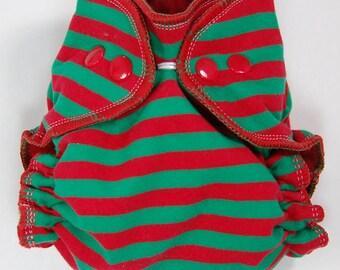 Cloth Diaper or Cover Made to Order - Christmas Stripes - Red and Green Striped - You Pick Size and Style - Custom Nappy or Wrap