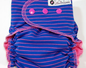 Striped Cloth Diaper or Cover Made to Order - Royal Blue with Pink Pinstripes - You Pick Size and Style - Custom Nappy or Wrap - Stripes