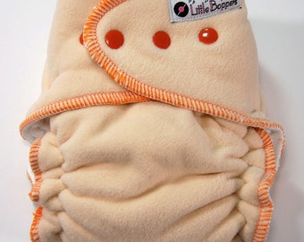 Overnight Cloth Diaper Made to Order Extended-Use Wind Pro AI2 - Cream WindPro with Orange Trim- You Pick Size- WindPro Nighttime Sleep