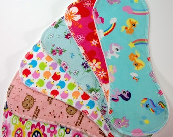 6-pack Print/Bamboo Boosters for Cloth Diapers - Heavy Bamboo Fleece - Nappy Doublers - Liners - Inserts - Pocket Stuffers -Cute Girl Prints