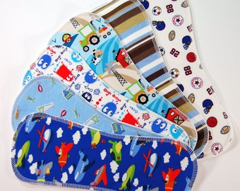 6-pack Print/Bamboo Boosters for Cloth Diapers - Heavy Bamboo Fleece - Nappy Doublers - Liners - Inserts - Pocket Stuffers - Cute Boy Prints