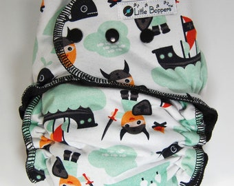 Custom Cloth Diaper or Cover - Vikings - You Pick Size -Norse, Nordic, Ginger - Made to Order Nappy or Wrap - Mint and Black - Free shipping