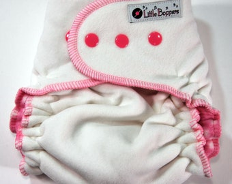 Overnight WindPro Cloth Diaper Cover - Made to Order - White Wind Pro Fleece - You Pick Size and Trim Color of Snaps and Thread - Nappy Wrap