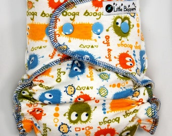 Cloth Diaper or Cover Made to Order - Blue Orange Ooga Booga on Cream - You Pick Size and Style - Custom Nappy- Monsters Boy