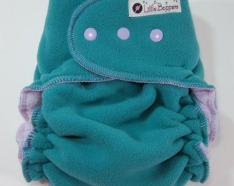 Overnight WindPro Cloth Diaper Cover - Made to Order - Laguna Wind Pro Fleece - You Pick Size and Trim Color: Snaps and Thread - Nappy Wrap