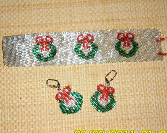 Christmas Wreath Cuff and Earrings Set Pattern