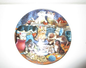 Frisky Business Cat Plate - Vintage Collectors Plate by the Bradford Exchange - Cute Kittens Design 8.25 inches