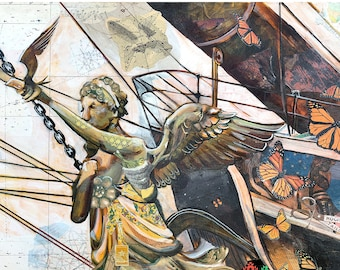Migration - 12X18 limited edition print of a winged ships masthead with Monarch butterflies