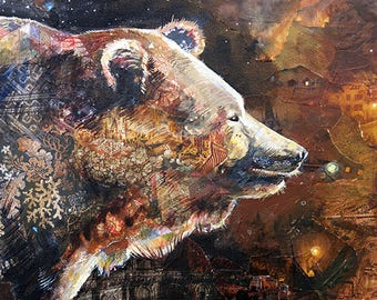 Waking Up - 8.5X11 limited edition print of a bear and a spark