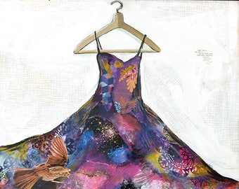 We Are Clothed - 8.5X11 limited edition print of purple dress on hanger