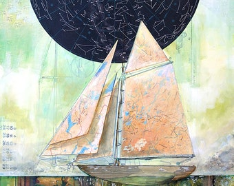 On Becoming Rooted - 11X17 limited edition print of a ship with constellations and roots