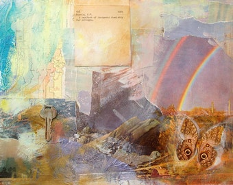 LIMITED EDITION Print of Original Ombre painting with rainbow and key