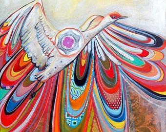 Sandhill Crane bird with patterns 11X17 print - brightly colored sandhill crane with vibrant colors and patterns
