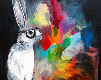 Hipster Rabbit painting 11X17 print - long eared hare wearing thick rimmed glasses- bold colorful splashes