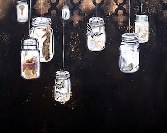All the Lights - Hanging Mason Jar - 12x12 print - blacks, gold leaf, story