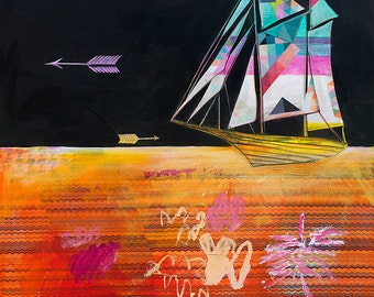Ships Passing in the Night - 12X12 print -sailboat with arrows and geometric patterns - limited edition
