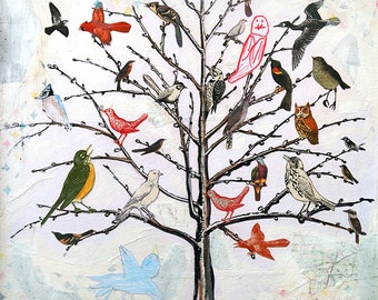 Babel - 12X12 limited edition print of a tree filled with all different kinds of birds