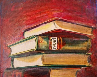 Read - LIMITED EDITION Print of Original Mini Painting of Books