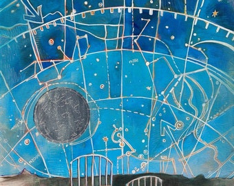Constellations - Starry night sky painting print - A Map of Sleep and Dreaming - LIMITED EDITION