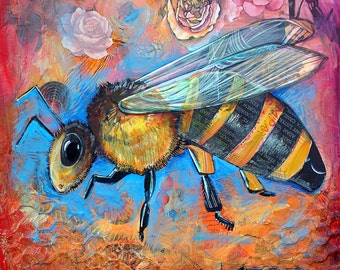 Honey Bee Art Painting- LARGE 12X12 signed Print of painting- vibrant oranges and blues