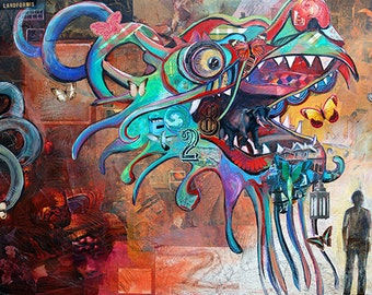 Dragon Kite painting - 11X17 large print - chinese dragon collaged with teals and oranges