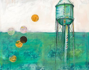 Water tower painting - Still the Air - 12X12 print - limited edition in creams and teals
