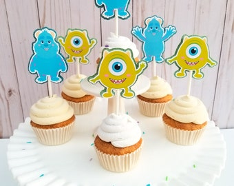 Monsters Inc Sulley and Mike Baby Cupcake Toppers