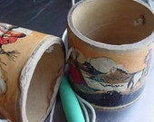 Vintage  Boy's Toy - Stilt Cans with Native American Decorations
