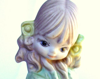 Retro Girl with Curls - Handpainted 1976 Figurine