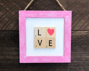 Love Scrabble Sign, Scrabble Wall Tiles, Letter Tiles, Scrabble Tiles, Scrabble Wall Art Love Sign Farmhouse Anniversary Gift Tiered Tray
