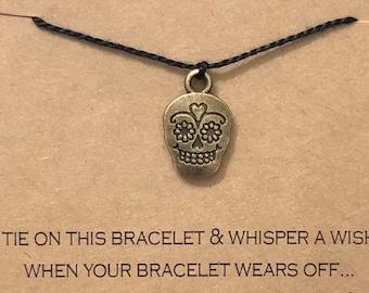 Sugar Skull Wish Bracelet, Calaveras Charm, Dia De Los Muertos, Day of the Dead, Friendship Bracelet, Wish Bracelet, Friendship Gift, Skull