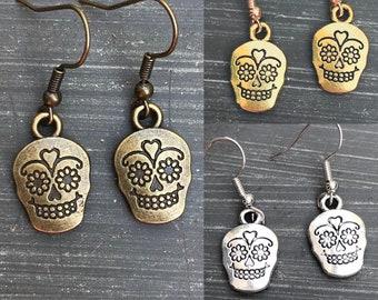 Sugar Skull Earrings, Calaveras Charm, Dia De Los Muertos, Day of the Dead, Gift, Skull Earrings Halloween Jewelry Candy Skull Cinco de Mayo