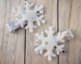 Snowflake Hair Clips, Frozen, Elsa, Snow Queen, Toddler Hair Clips, Christmas Hair Clips, Holiday Hair Clips, White Snowflakes