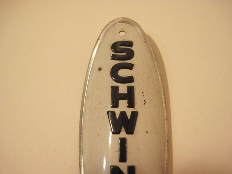 genuine vintage Schwinn bicycle fork head badge shield bike part  restoration item craft supply