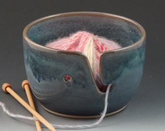 Yarn Bowl in Chambray Blue with a Darker Denim Blue Rim - READY TO SHIP