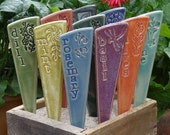 12 Plant Markers - Garden Markers - Ceramic Herb Vegetable Markers- You pick, from the provided list, your set of 12 ceramic garden stakes