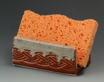 Ceramic Sponge Holder, Pottery Sponge Holder in Pumpkin with Cream Edge, Soap Dish - READY TO SHIP