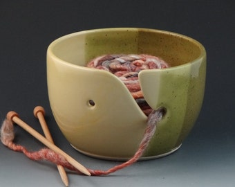 Yarn Bowl in Sunny Yellow & Olive Green - READY TO SHIP