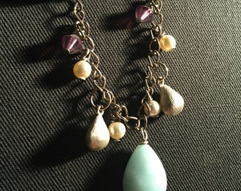 Light teal, purple and silver beaded necklace