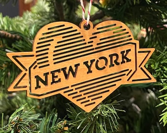 Ornament -- NEW YORK Heart Lasercut