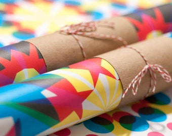 Wrapping Paper -- Set of 3 Sheets of Kaleidoscopic Patterned Paper