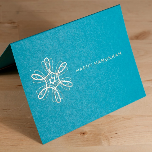 Hanukkah Card -- hand-printed gold on teal card