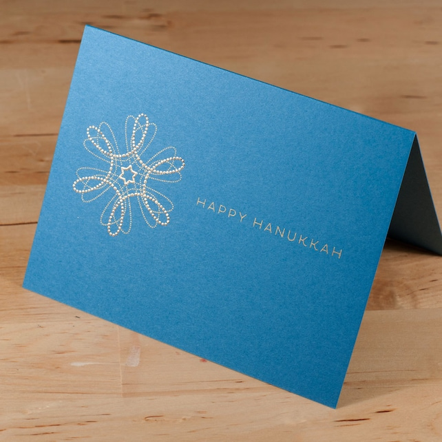 Hanukkah Card -- hand-printed gold on blue card