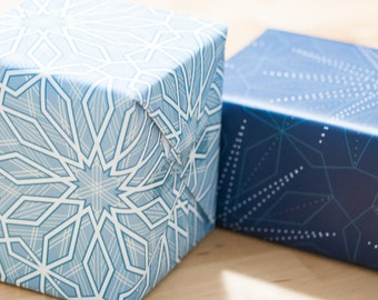 Wrapping Paper -- Set of 3 Sheets of Snowflake Patterned Paper