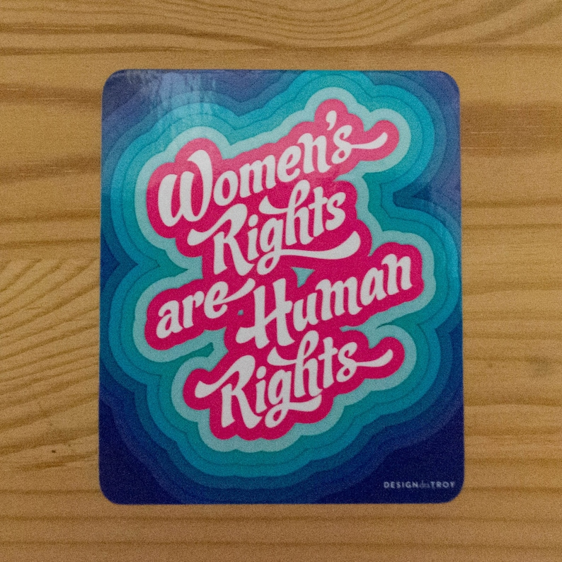Women's Rights are Human Rights Sticker  set of 2 image 0