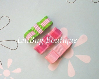 LiliBug Preppy Pink Stripes Newborn Snap Clip Set