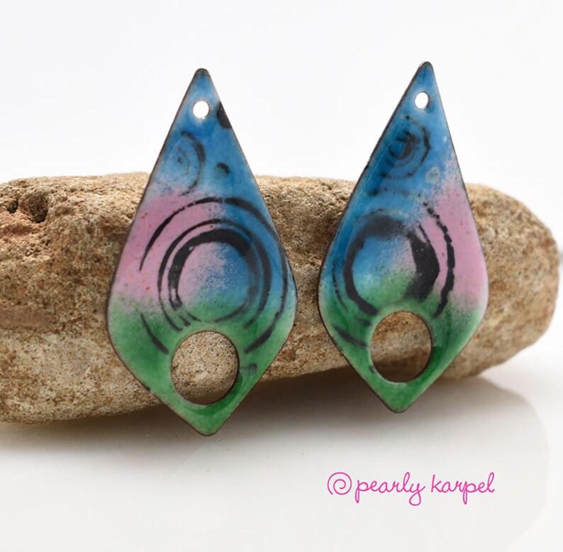 Enameled copper copper jewelry enameled jewelry pair boho earrings jewelry component enameled copper jewelry making copper earrings