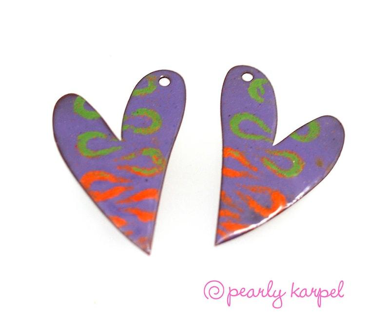 copper earrings Enameled copper jewelry component jewelry making enameled copper boho earrings pair copper jewelry enameled jewelry